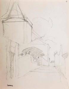 Sint-Hubertusstraat met kerk en poortje naar pastorie