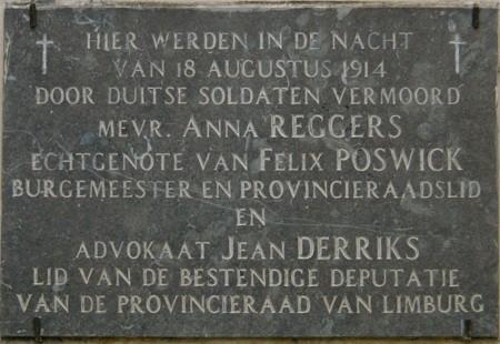 Herdenking moord op Anna Poswick-Reggers en Derriks