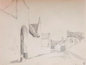 Brugstraat met links ingangspoort van Hoeve Mosmans